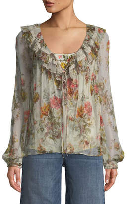 Needle & Thread Rainbow Rose Long-Sleeve Chiffon Blouse