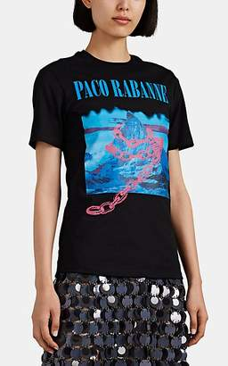 Paco Rabanne Women's Logo Cotton Jersey T-Shirt - Black Pat.