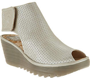 Fly London Leather Perforated Peep-toe Wedges -Yahl