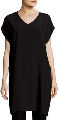 Eileen Fisher Short Sleeve Crinkle Crepe Tunic $278 thestylecure.com