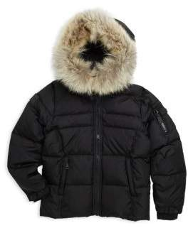 SAM. Boy's Mountain Coyote Fur-Trim Matte Down Puffer Jacket