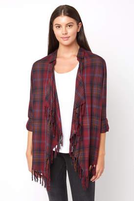 Willow & Clay Plaid Drape Fringe Jacket