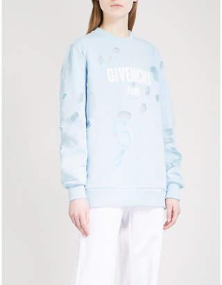 Givenchy Destroyed logo cotton-jersey sweatshirt
