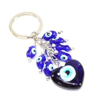 JuJu Smiling Turkish Evil Eyes Love to Mother Keychain with Luck Blessing and Protection Gift