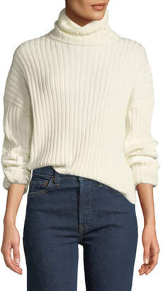 RE/DONE Chunky Ribbed Turtleneck Wool-Cashmere Sweater
