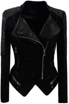 Moto Yeokou Women's Casual Slim Short Suede Faux Pu Leather Punk Biker Jacket