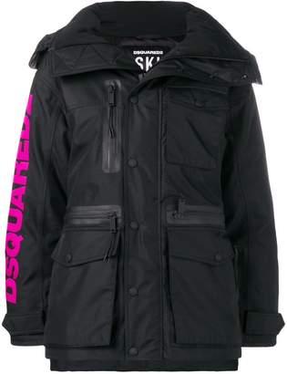 DSQUARED2 logo print padded coat