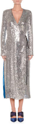 ATTICO Long-Sleeve Sequin and Velvet Robe Wrap Cocktail Dress