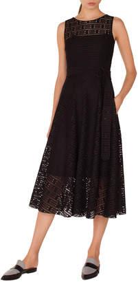 Akris Punto Sleeveless Fit-and-Flare Lace Midi Dress