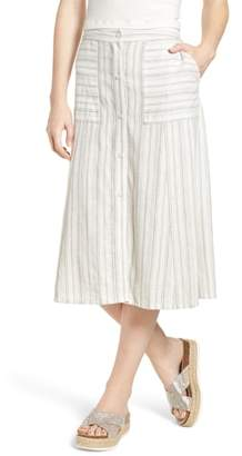 BP Stripe Linen Blend Midi Skirt
