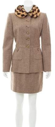Valentino Wool Mink-Trimmed Skirt Suit