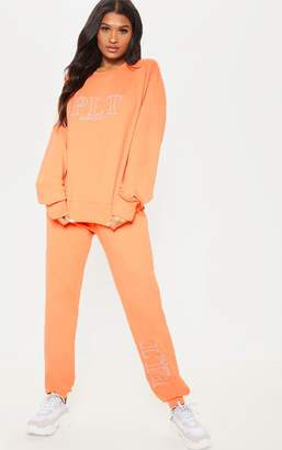 PrettyLittleThing Peach Embroidered Casual Joggers
