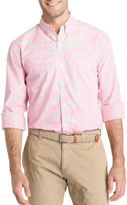 Izod Long Sleeve Sportflex Natural Stretch Stripe Woven Long Sleeve Stripe Button-Front Shirt-Big and Tall