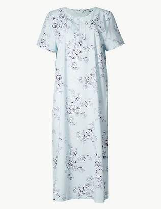 Marks and Spencer Cotton Blend Printed Short Sleeve Nightdress