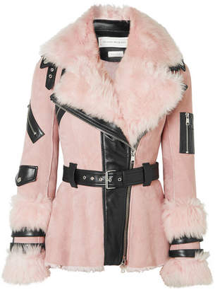 Alexander McQueen Leather-trimmed Shearling Biker Jacket - Pink