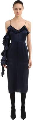 Magda Butrym Ruffled Silk Envers Satin Dress