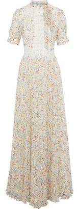 Mikael Aghal Guipure Lace-Trimmed Pleated Floral-Print Chiffon Gown
