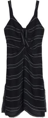 Proenza Schouler Knotted Fringe-Trimmed Striped Crepe Mini Dress