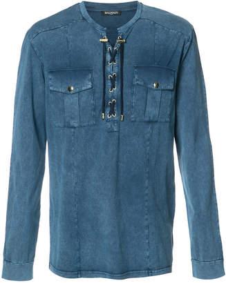 Balmain lace-up detail shirt