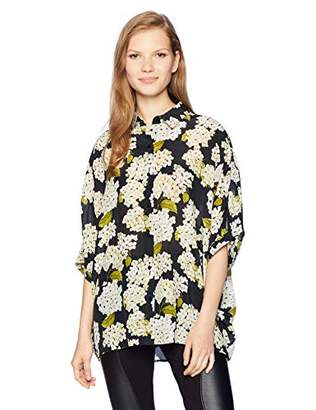 The Kooples Women's Button Down Hydrangea Print top with Collar
