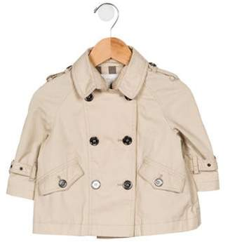 Burberry Girls' Spread Collar Double-Breasted Coat beige Girls' Spread Collar Double-Breasted Coat