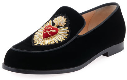 Christian Louboutin  Christian Louboutin Perou Corazon Velvet Red Sole Loafer, Black