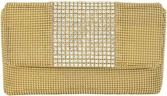 Whiting & Davis Rhinestone Stripe Metallic Mesh Flap Clutch