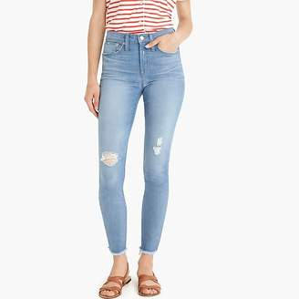 """J.Crew 9"""" High-Rise Toothpick Jean In Light Blue With Raw Hems"""