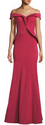 Rene Ruiz Off-the-Shoulder Framed Peplum Gown