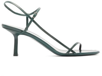 The Row Bare Mid Heel Leather Sandals - Womens - Dark Green