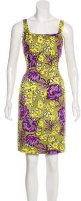 St. John Floral Print Knee-Length Dress