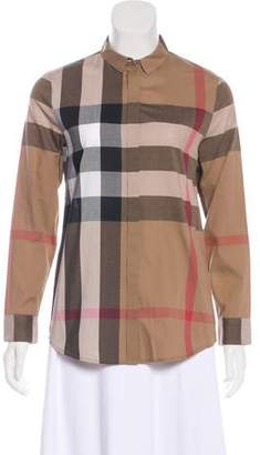 Burberry Thornaby Check Button-Up Top