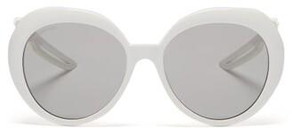 Balenciaga Hybrid Round Acetate Sunglasses - Womens - White
