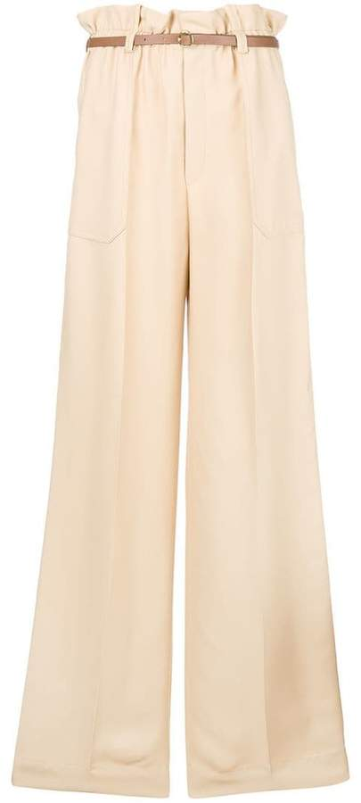 paper bag waisted wide leg trousers