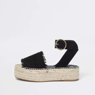 River Island Womens Black espadrille platform sandals