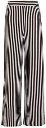 Quiz White And Black Stripey High Waisted Trousers
