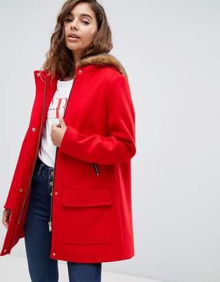 Asos Design DESIGN hooded slim coat with faux fur trim