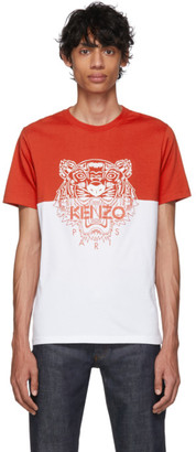 Kenzo Red and White Limited Edition Colorblock Tiger T-Shirt