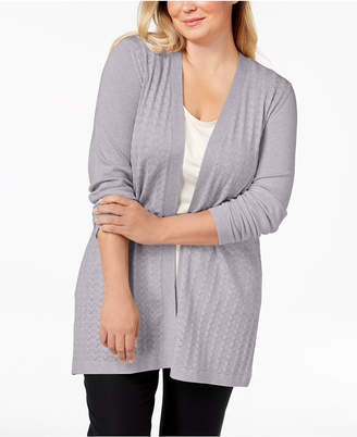 Karen Scott Plus Size Long Pointelle-Knit Cardigan Sweater