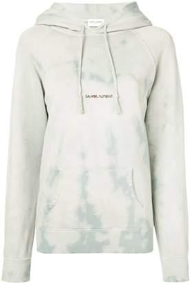 Saint Laurent subtle tie-dye logo print hoodie blue