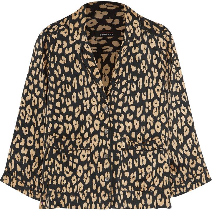 EquipmentEquipment + Kate Moss Lake leopard-print washed-silk pajama shirt