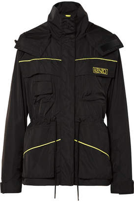 Kenzo Embroidered Shell Hooded Jacket - Black