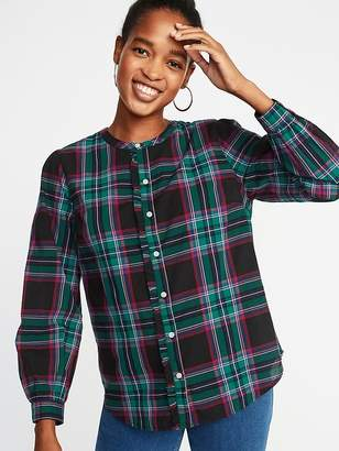 Old Navy Relaxed Plaid Ruffle-Trim Shirt for Women