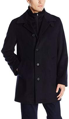 Nautica Men's Wool-Blend Topcoat With Knit-Collar Insert