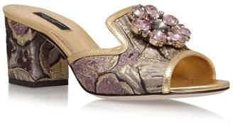 Dolce & Gabbana Jacquard Bianca Abaya Mules 60