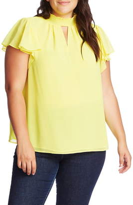 1 STATE 1.STATE Keyhole Flutter Sleeve Blouse