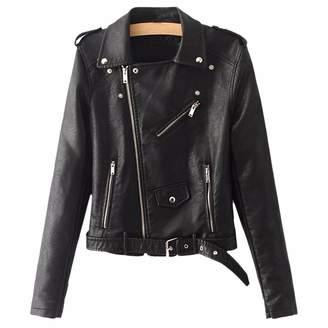 Moto QIYUN.Z Women Long Sleeve Suede Faux Leather Jacket Zipper Belt Winter Coat