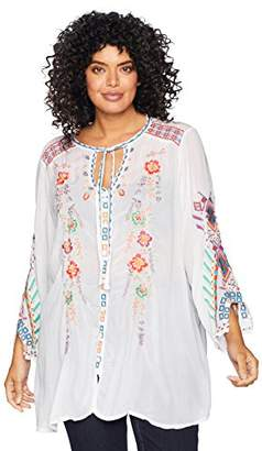 Johnny Was Women's Plus Size Rayon Tie Neck 3/4 Sleeve Relaxed Blouse
