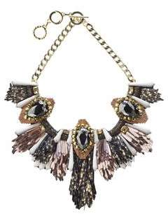 Forest of Chintz Disco Jungle Pink Bronze Fringe Necklace