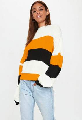 Missguided Mustard Colourblock Striped Oversized Sweater